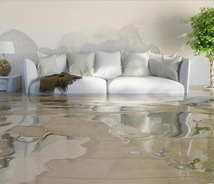 couch in a water damage