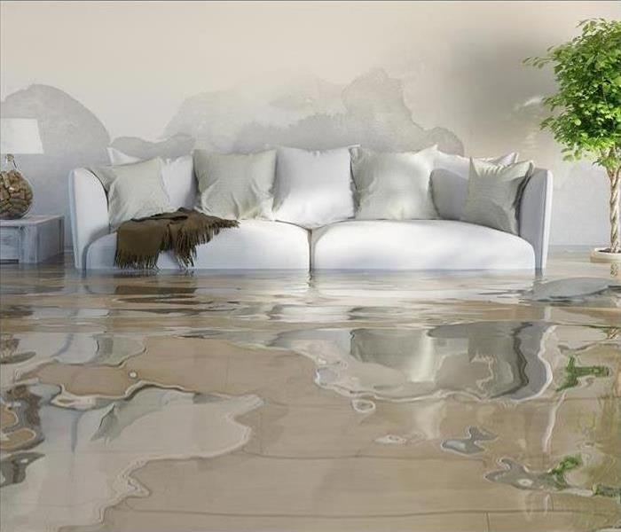 A couch in a flooded room
