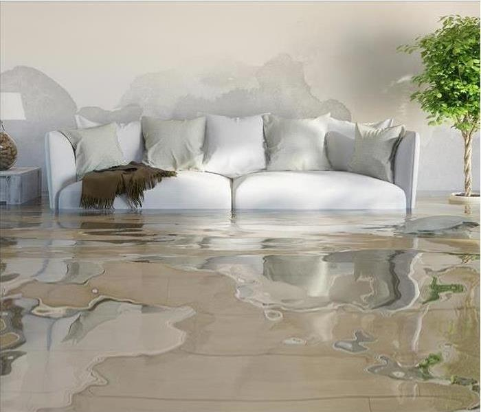 a couch sitting in a room filled with water