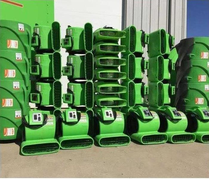 A bunch of Air movers equipment